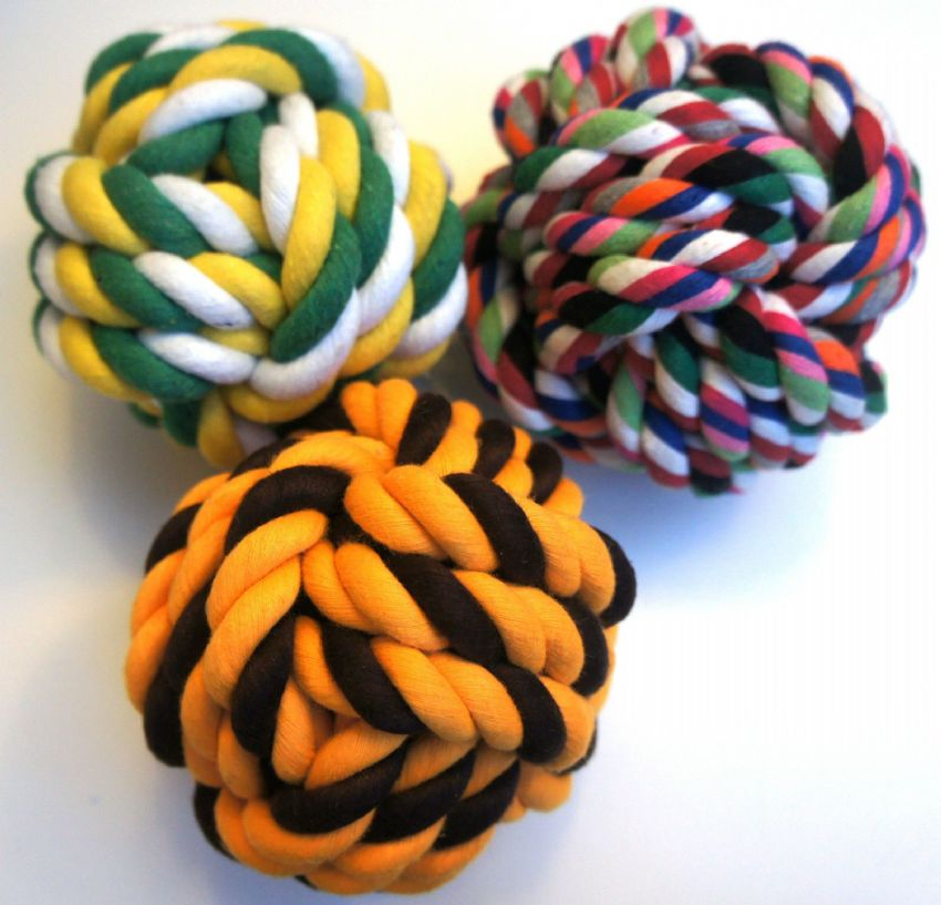 "VALUE PACK LARGE DOG DOG TOYS 4/5"" DOG ROPE BALLS X 3 TOUGH ROPE TOYS FOR DOGS"